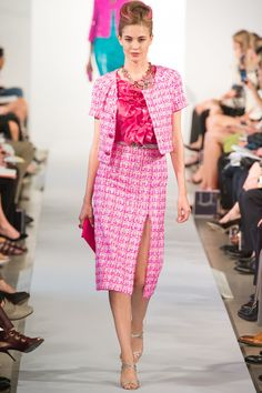 Oscar de la Renta Spring 2013: I love the pink tween short sleeve jacket with the matching pencil skirt with a slit. The blouse with a ruffle down the front is gorgeous! I love the classy tweed with the WOW blouse!