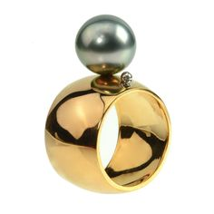 Visibly Interesting:  Modern Pearl Ring in Rose Gold with Black Pearl by Lauren Chisholm