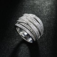 Hotsale Микро проложили Кубического Циркония мульти-круг себе кольца перста для женщин позолоченные ювелирные изделия оптом