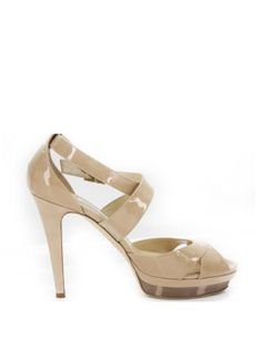 Jimmy Choo High Heel Kuki Nude Patent Strappy Sandals high heels toe