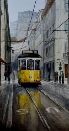 Travel to Lisboa - - Acuarela Watercolor -Roberto Barba Street Painting, Arte Sketchbook, Travel Illustration, Watercolor Artwork, Cute Wallpaper Backgrounds, Urban Sketching, Art For Art Sake, City Art, Mellow Yellow