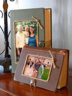Prop your vacation snaps on weathered page-turners for a photo display that's a bit more homey than your typical gallery wall. Get the tutorial at Well Rounded » - GoodHousekeeping.com