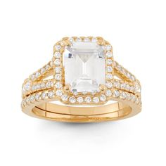 Gioelli Designs 10k Gold 3 3/8ct TGW Cubic Zirconia 2-piece Bridal Set Ring