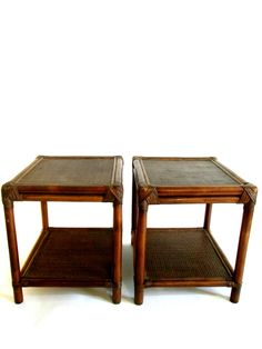 Vtg Natural Rattan Ficks Reed Side / Accent Tables | Two Tier | Pair by ElectricMarigold on Etsy