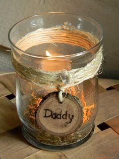 Rustic Wedding Personalized Remembrance Candle ?? In the church with their names? Each decorated to their taste?