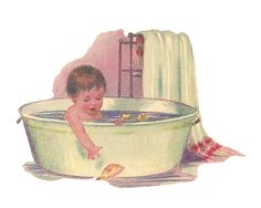 Antique Images: Free Baby Clip Art: Baby Taking Bath in Vintage Tub with Rubber Ducky