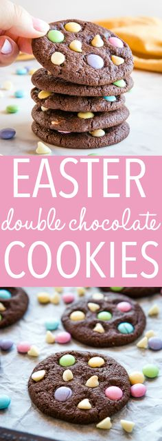 These Easter Double Chocolate Cookies are the perfect fun and easy Easter treat! These Easter Double Chocolate Cookies are the perfect fun and easy Easter treat! Crispy on the outside chewy on the Easter Cookie Recipes, Easy Easter Desserts, Spring Desserts, Easter Cookies, Easter Treats, Holiday Desserts, Fun Desserts, Dessert Recipes, Valentine Cookies