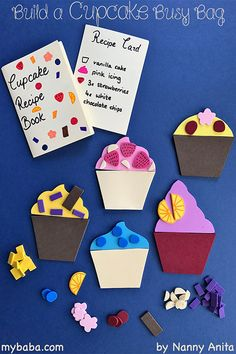 build your own cupcake busy bag with recipe cards to help with reading and number identification.