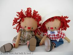 Artist Pillow Dolls Ann & Andy Original by PillowBearsAndDolls