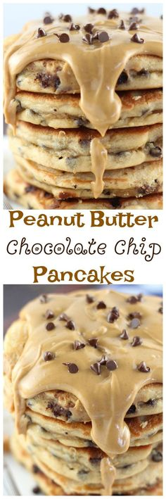 Peanut butter chocolate chip pancakes are an ooey gooey way to get your morning started off right. Make sure these are brunch menu for the weekend! Breakfast Desayunos, Breakfast Dishes, Breakfast Recipes, Pancake Recipes, Pancake Flavors, Pancake Ideas, Pancake Dessert, Pancake Toppings, Breakfast Ideas
