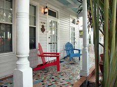 Porch at 710 Caroline St., Key West has 'broken Cuban tile' porch. An early popular style.
