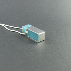 Resin necklace pendant necklace, silver turquoise rectangle, modern minimalist…