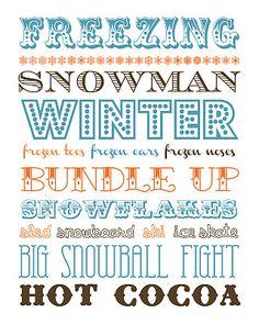 Winter, from Funky Polkadot Giraffe. LOVE this! Need to print it! http://funkypolkadotgiraffe.blogspot.com/2012/01/january-fun-winter-subway-and-snowman.html