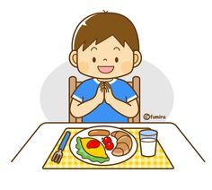 朝ごはんを食べる男の子のイラスト(ソフト)