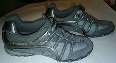 Skechers Incredible Elastika Girls sz 5 Silver Flower Shoes Play Glitter Sparkle #Skechers #Athletic