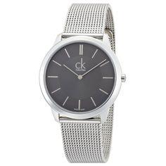 8fffb65e94f Calvin Klein K3M21124 Men s CK Minimal Grey Dial Steel Mesh Bracelet Watch Calvin  Klein Models
