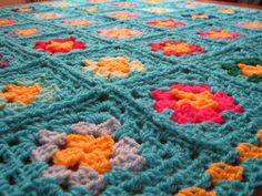 Surf Turquoise Blue Granny Square Crochet Nursery by Thesunroomuk, £45.00