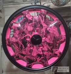 This project was done using Sassy, Stone Black and Glitter Dust - powder coating. Powder coating is a durable finish that is electrostatically applied and then baked to create a durable coating. Rims For Cars, Car Rims, Glitter Dust, Powder Coating, Sassy, Stone, Create, Exotic, Pink