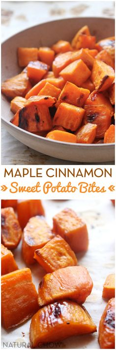 "Healthy Meals For Kids Crispy on the outside, tender on the inside, and PACKED with that comforting ""cinnamon roll"" flavor. They're so easy to make and are actually healthy for you! Sweet Potatoe Bites, Potato Bites, Sweet Potato Cinnamon, Sweet Potato Recipes, Cinnamon Butter, Vegetable Dishes, Vegetable Recipes, Healthy Snacks, Healthy Recipes"
