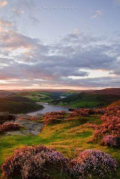 Up on Bamford Edge as the sun was setting over Ladybower Reservoir, Derbyshire