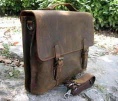"""New Vintage Rugged Leather Full Grain Leather Men's Briefcase 15"""" Laptop Handmade Shoulder Bag Messenger Satchel S01205#-in Briefcases from Luggage & Bags on Aliexpress.com"""