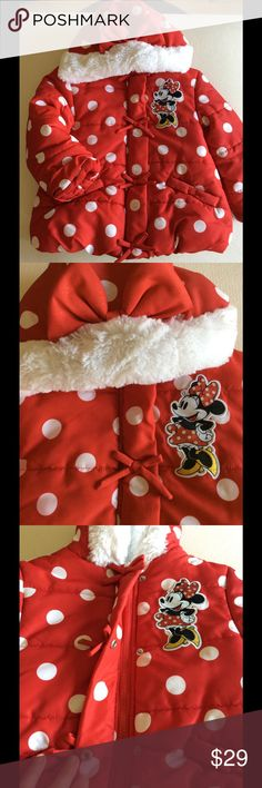 Minnie Mouse Puffer Jacket Authentic Disney Store Purchase: Red and white polka dot puffer Jacket in toddler size 2/3. Zipper and snap closure with bow detail down front and on fur trimmed hood. There is pilling on inside lining, but it is not seen when worn. Great condition on outside. Disney Jackets & Coats Puffers