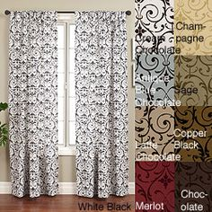 @Overstock.com - Seville Rod Pocket 84-inch Curtain Panel - Add pizzazz to your windows with this medallion-patterned, 84-inch curtain panel. Available in a wide variety of colors to match virtually any decor, this distinctive window treatment features a flocked taffeta design in a nylon-poly blend.  http://www.overstock.com/Home-Garden/Seville-Rod-Pocket-84-inch-Curtain-Panel/4155099/product.html?CID=214117 $29.99