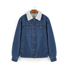 SheIn(sheinside) Blue Contrast Lapel Single Breasted Denim Coat (2.055 RUB) ❤ liked on Polyvore featuring outerwear, coats, blue, long sleeve coat, denim coat, colorblock coat, vintage coat e single breasted coat