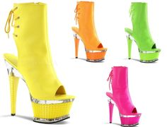 Illusion 1018 UV Neon Green Orange Yellow Pink Open Heel Toe Ankle Boot Textured Platform Shoe