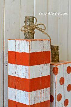 4x4 striped and polka dot pumpkins   simplykierste.com - love those rustic stems, too! Pumpkin Crafts, Fall Crafts, Pumpkin Ideas, Holiday Crafts, Pumpkin Art, 4x4 Crafts, Pumpkin Patterns, Pumpkin Carving, Wood Crafts