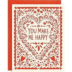 You Make Me Happy.  Delicate letterpress design gives this card an extra special touch.