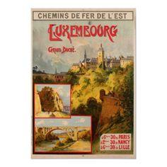Poster de viagens do vintage, Luxembourg por yesterdaysgirl