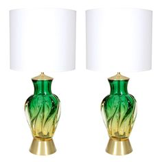 Seguso Green & Citron Glass Lamps
