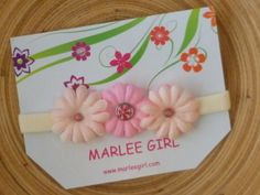 Baby Headband Hair Accessory Shabby Girl Medium Thick Triple Pink Flowers Button Accents Photo Prop or Valentines Day Handmade