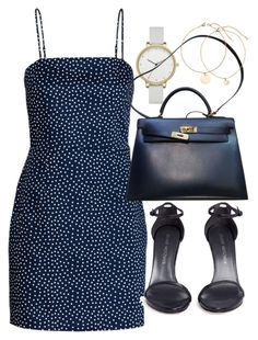 """Untitled #21830"" by florencia95 ❤ liked on Polyvore featuring Skagen, Stuart Weitzman and Hermès"