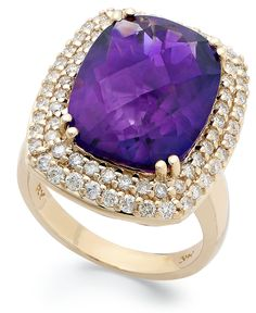 Eternal romance. This gorgeous ring showcases a cushion-cut amethyst (9 ct. t.w.) surrounded by shimmering full-cut diamonds (1 ct. t.w.). Set in 14k gold. Size 7.   Photo may have been enlarged and/o