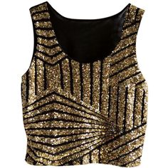 Gold Womens Fancy Stripe Sequins Tank Crop Top ($16) ❤ liked on Polyvore featuring tops, crop top, tanks, gold, sequin top, brown crop top, dressy sequin tops and fancy tops