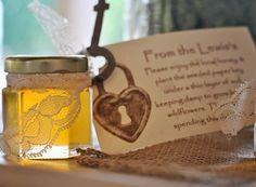 organic local honey wedding favors, lace, lock and key, diy, rustic country romantic wedding