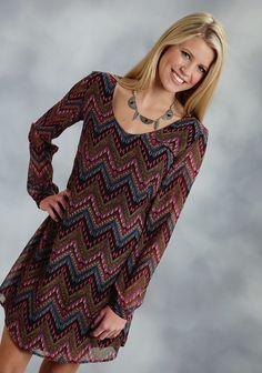 Roper® Black Aztec Print Chiffon A-Line Western Dress