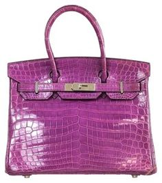 Hermes Crocodile Porosus Tote in Purple