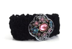 Black Thead Crochet Cuff Bracelet Handmade And by handcraftusa
