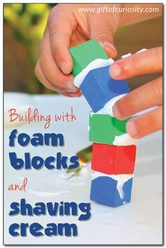 Kids can build structures with foam blocks and shaving cream to practice fine motor skills including spreading and stacking. Plus, the shaving cream adds an additional sensory element to this activity