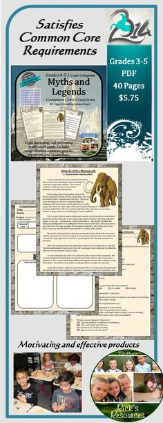 The Common Core standards specifically mention student exposure to myths and legends; yet most text materials are inadequate in those areas.  This is a great supplement that includes 8 myths and legends with corresponding comprehension activities and graphic organizers. Complete answer keys are also included.  It is my most popular product. Grades 3-5