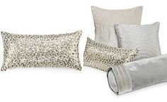 "Hotel Collection Finest Silver Leaf 10"" x 20"" Decorative Pillow"