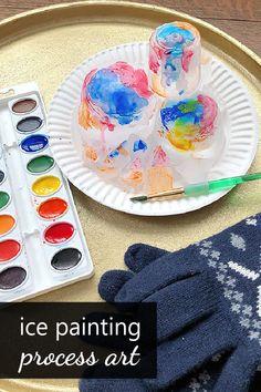 Ice Painting Process Art Project for Kids - Fantastic Fun & Learning Ice Painting, Painting Process, Process Art, Painting For Kids, Art For Kids, Kids Fun, Art Activities For Kids, Preschool Crafts, Winter Activities