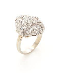 Estate Fine Jewelry Art Deco Diamond Geometric Oval Ring
