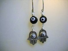 Black White and Pewter Hamsa Hand and Evil Eye by Beads4You2008,