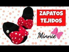 Zapatitos de Minnie mouse tejidos a crochet   0-3 meses - YouTube