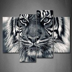Black And White Ferocity Tiger With Eye Staring And Beard Wall Art Painting Pictures Print On Canvas Animal The Picture For Home Modern Decoration *** Find out more about the great product at the image link.