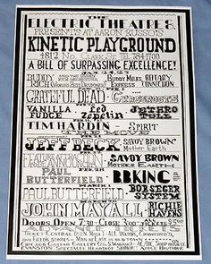 The Kinetic Playground Concert Poster LED Zeppelin Grateful Dead 1969 |  Check out spelling of Led Zeppelin....